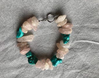 Agate and unrefined Turquoise Beaded Bracelet