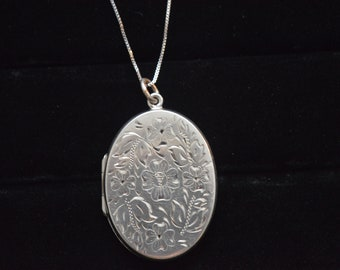 Vintage Silver Carved Locket W/ Sterling Chain