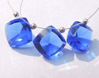 3 Pcs Trios Tanzanite Blue Quartz Concave Cut Square Shaped Briolette Size 16 MM