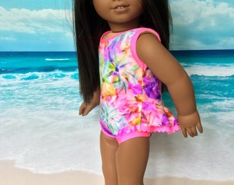 Girl doll bathing suit, swimsuit, pink trim, beach wear, swimming, Tushie ruffle swim suit, Fits like American.Girl doll clothes