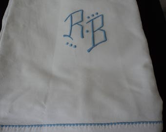French vintage metis linen bed sheet with blue embroidered initials (04858)