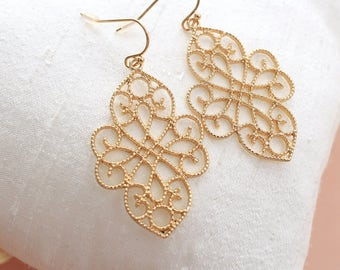Gold Filigree Earrings, Chic Bohemian Filigree Dangle Earrings, Moroccan Earrings, Bridesmaid Earrings, Bridal Shower Gift