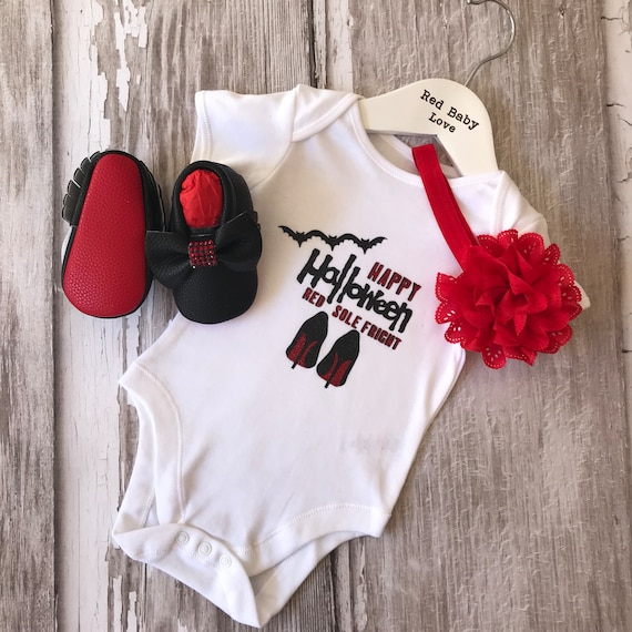 0a5711f862e8 Red Sole Baby Happy Halloween Red Sole Fright Romper   Shoe