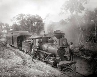 Jupiter & Lake Worth Railroad, 1897. Vintage Photo Reproduction Poster Print. Black and White Photograph. Steam Train, Locomotive, 1800s.