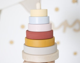 Wooden ring stacker (Custom colour choice)  - Wooden toy - Stacking toy - Ring stacker - Baby and Toddler toy - Montessori toy - Eco toy