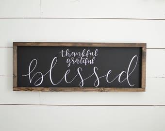 Thankful Grateful Blessed Wood Framed Sign