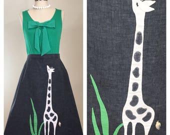 70s Lee Collins Giraffe Applique Novelty Gray Chambray A-line Skirt, Size XL