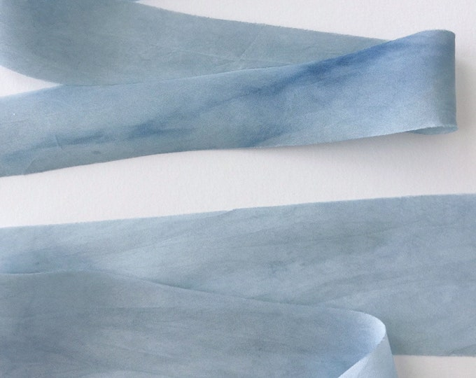 INDIGO BLUE Plant Dyed Silk Ribbon — Odds Sale, Slightly Flawed