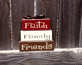 Faith family friends wood stacker blocks-Home Decor--inspirational