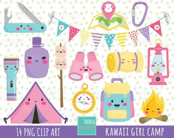 50 SALE GIRL CAMP Clipart Kawaii Commercial Use Camping