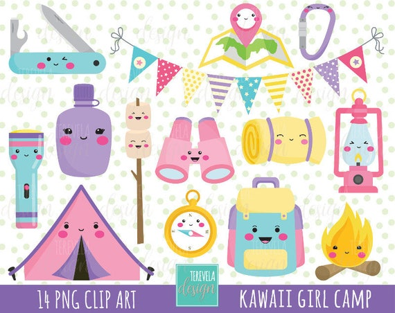 50 SALE GIRL CAMP Clipart Kawaii Commercial Use Camping Equipment Tent Camp Fire Travel
