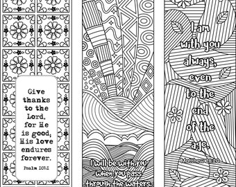 Set Of 6 Bible Verse Coloring Bookmarks Plus 3 Designs With Blank Templates Inspirational Scripture Digital Download