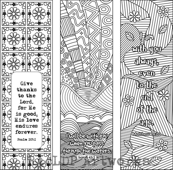 6 Bible Verse Coloring Bookmarks