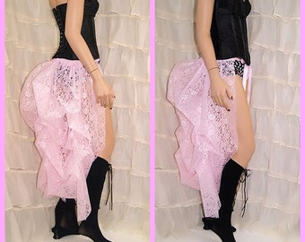 Pastel Baby soft Pink Lace Bustle Wrap Performer showgirl burlesque dancer MTCoffinz - All Adult Sizes