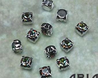VITRAIL MEDIUM: Swarovski SS29 6.5mm 17704 Xilion Rhodium Plated Two Hole Sew-On Slider Bead Component (12)