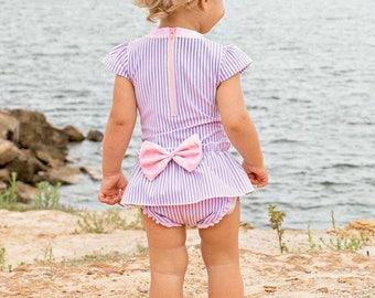 Lilac Seersucker Peplum One Piece, Seersucker Swimsuit