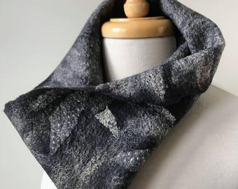 Écharpe col fibre Art, feutrée à la main, dentelle ancienne, soie, laine mérinos, cache-cou, Wrap, unique en son genre, doux, mode, Unique