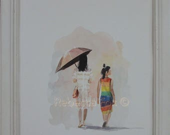 Original watercolor painting, Mother and daughter, Asian people, watercolor figure art, Portrait painting