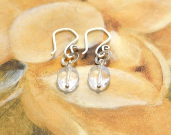 Clear Quartz Earrings with Natural Rock Crystal and Hammered Sterling Silver