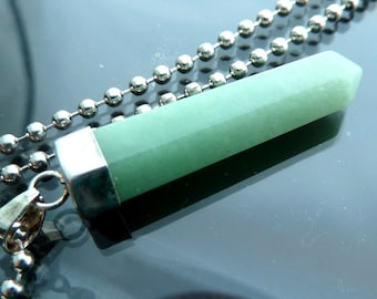 Aventurine Crystal Pendant in sterling silver bail necklace pendant green big raw