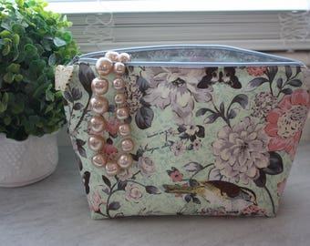 Large Light Green Floral Cosmetic, Wet, or Make-up Bag with Water-Resistant Lining