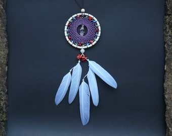 Dreamcatcher rear view mirror charm car mirror decor hanging  red corals and feather accessory