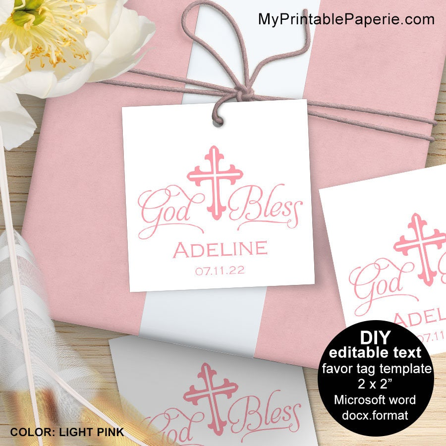 Girl baptism favor tags baptism favor tags baptism favor for