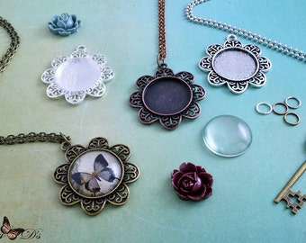 "4 Kits- 25mm Round Filigree Flower Photo Pendant Trays - 25mm Round Glass Tile Inserts - 3 Chain Choices - 24"" or 30"" - 4 Color Choices"