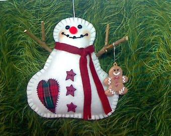 Snowman Ornament with Gingerbread Boy | Tree Ornament | Christmas Decoration | Wool Felt  Snowmen | Handmade Gift |Winter Decor |Size 5 - #3