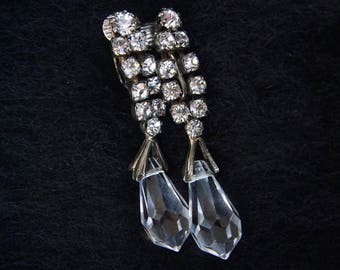 Gatsby Era Rhinestone Crystal Drop Earrings Clip on