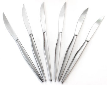 Vintage KALMAR Stainless Steel 9 inch Steak or Dinner Knives Mid Century Modern Retro Satin Finish Solid Handle Set of 6 Made in Italy MCM