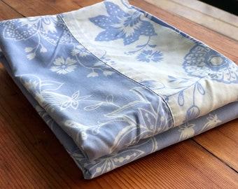 Pair of Vintage Pillowcases-Vintage Pillowslip-Floral Pillowslip-1970's-Blue and White Floral Pillowcase-Pillowslip Dress-Vintage Fabric.