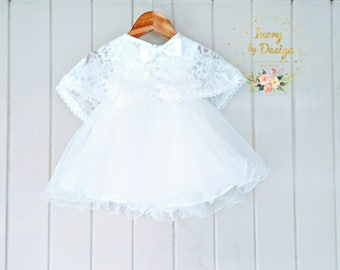 Ivory Lace Baptism Dress Christening Dress Tulle Baby dress Ivory Pearl Lace shoulder Cape