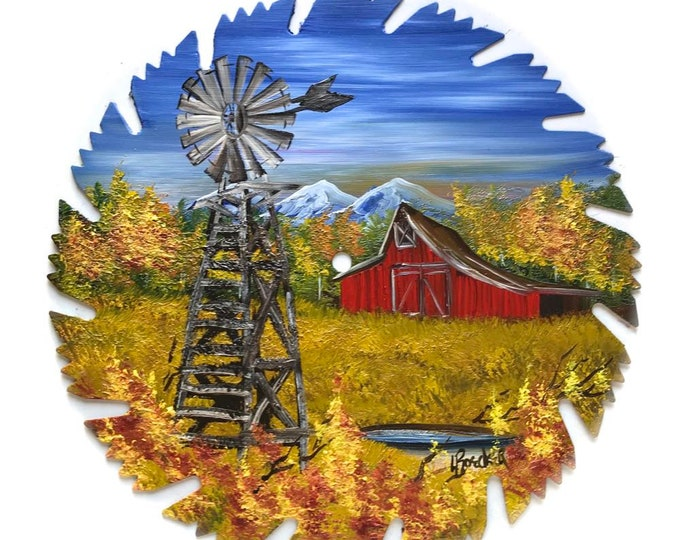 Hand Painted Saw Blade Mountain Fall Windmill and Red Barn