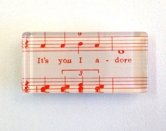 NEW Magnet - it's you I adore  (handmade from vintage sheet music)