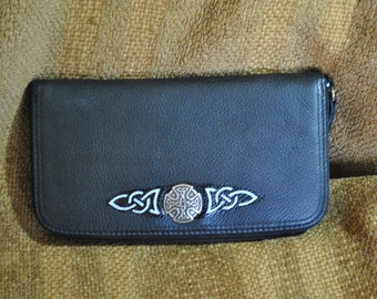Liz Claiborne Black Leather wallet with customized, one-of-a-kind, hand-painted Celtic designs by Wes Connell