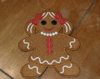 Embroidered Ornament - Christmas - Gingerbread Girl - Large