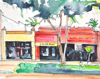 San Diego Hillcrest Street - Watercolor Painting