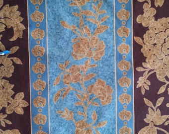 Fabric, one yard Cotton Fabric, quilt fabric, brown, gold, and blue vine fabric