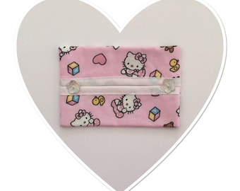 Case with handkerchiefs in pink Baby Kitty printed cotton fabric