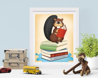 Woodland Nursery Art for Kids Room | Reading Art Book Baby Shower Gift | Woodsy Beaver Playroom Decor | Woodland Friends Book Lover Gift
