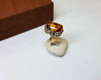 Ring Gold 585 Topaz Orange nostalgia shabby vintage old GR495
