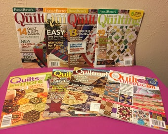 Lot of 8 Fons and Porter Love of Quilting Quilts , More Quiltmaker and Almananac Magazines