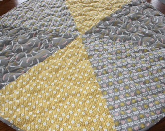 Baby, Play, Mat, Quilted, Padded, Round, Nursery Decor, Grey, Mustard, Activity Mat, Playmat