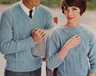 1960's Vintage Knitting Patterns His and Hers Pullover Sweaters 747-21, 747-22