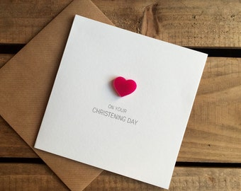 On Your Christening Day with Pink detachable Heart magnet keepsake
