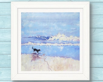 Border Collie Art Print From My Original Dog Painting. Grace the Border Collie Encounters a Wave. Wall Art. Gift for Him. Dog Lover Gift.