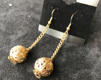 Gold Design Spheres with Hearts on a Gold Chain Earrings
