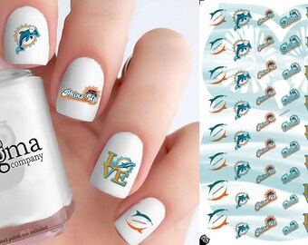 Miami Dolphins Nail Decals (Set of 50)