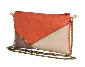 Evening clutch, wedding, handbag, suede terracota, ecru, taupe, Golden - after the beach and graphic lines